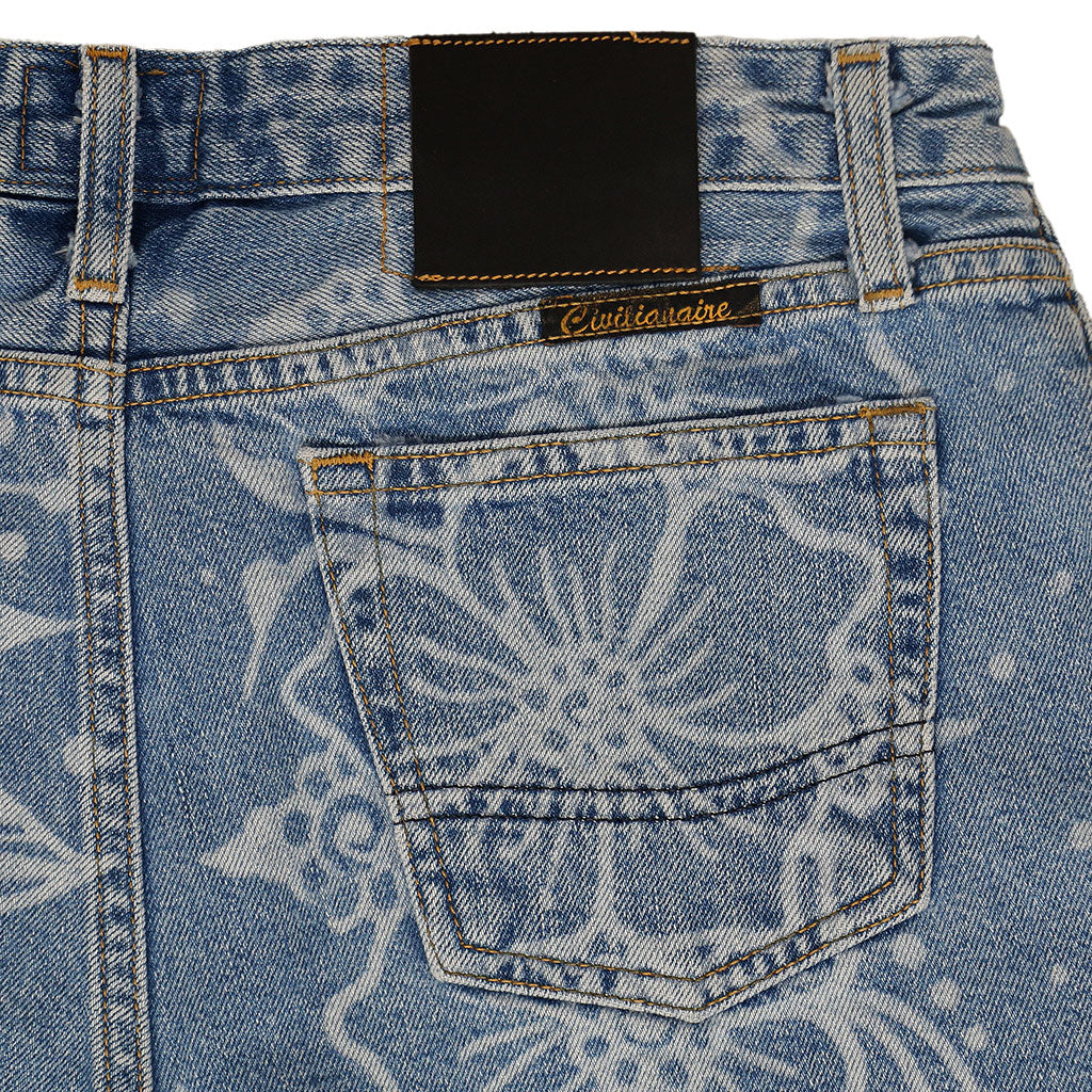 5 Pocket Cut-Off Boyfriend 10.5 oz Shorts - MED STONE - LASER FLORAL PRINT