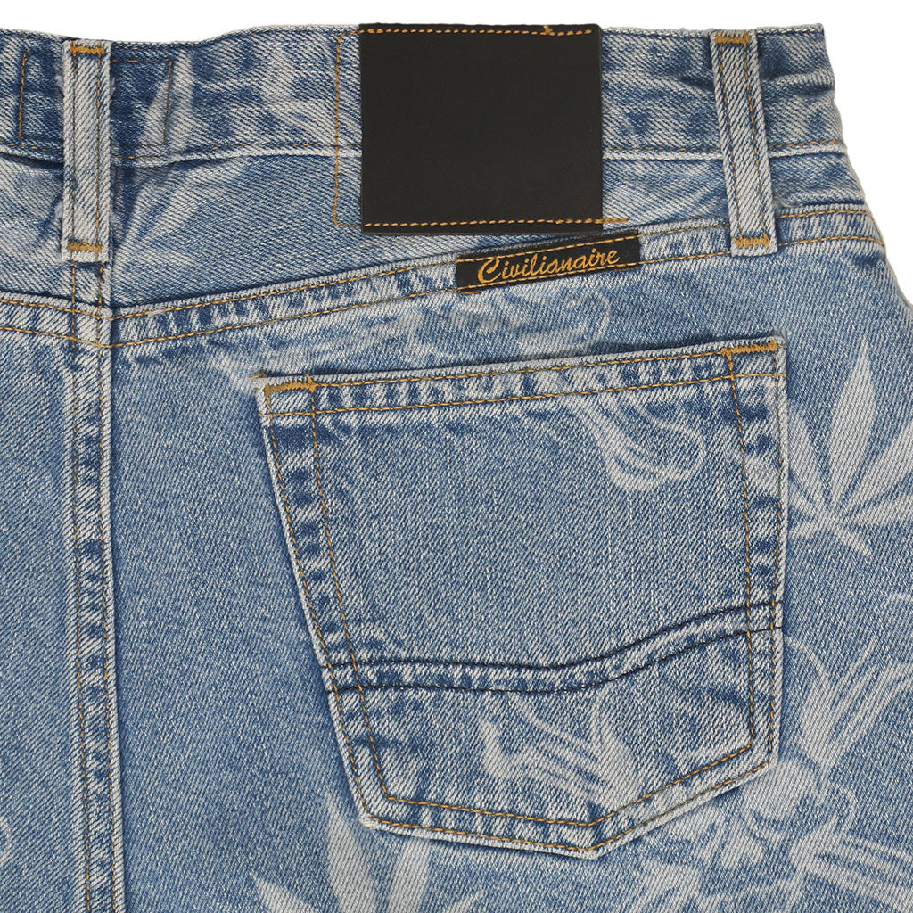 5 pocket Cut-Off  Boyfriend 10.5 oz Shorts - Med WASH - LASER SKULL & CANNABIS PRINT