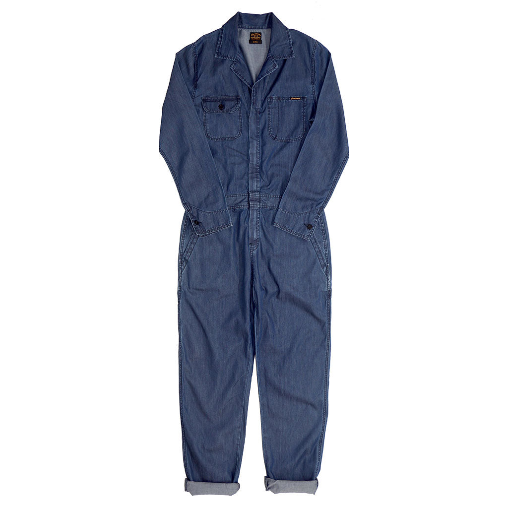 4.5 oz. Lightweight Indigo Denim JUMPSUIT/ COVERALL - MED. STONE WASH