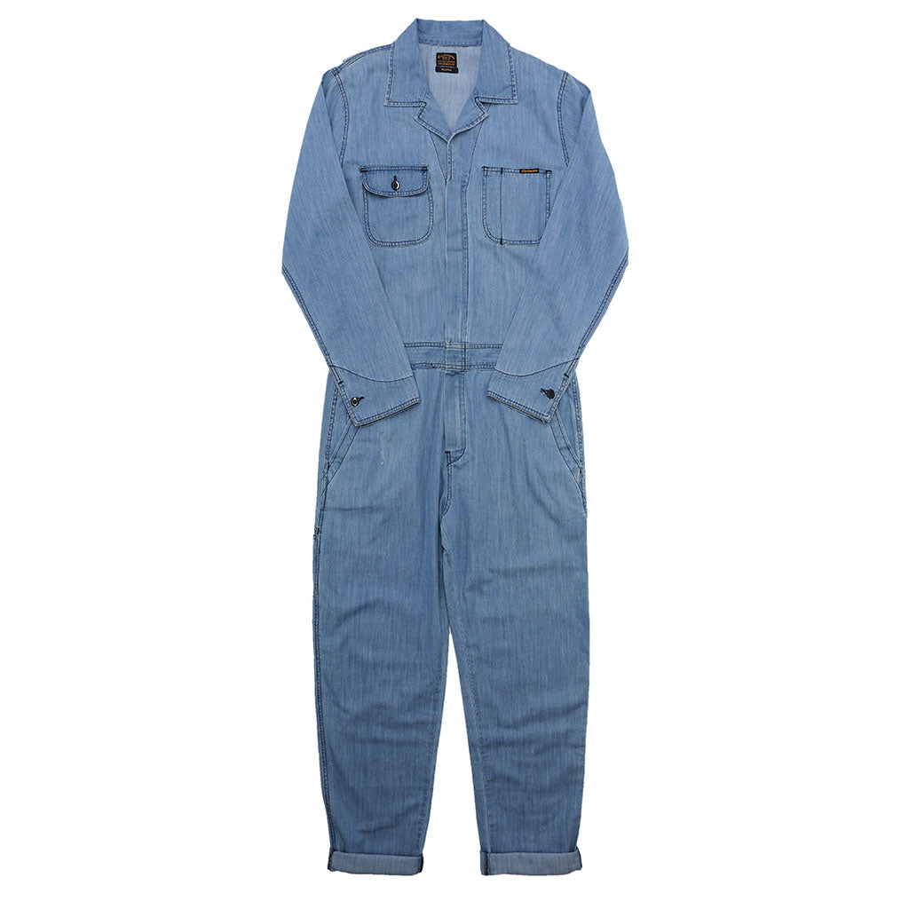 6.0 oz. Lightweight Indigo Denim JUMPSUIT/ COVERALL - MED STONE WASH