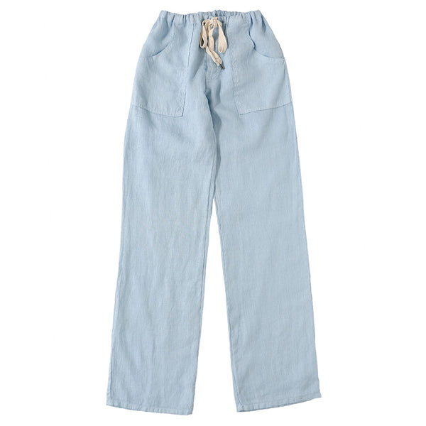 Button Drawstring Linen Pants 2 Front Patch Pockets - Skyra Blue