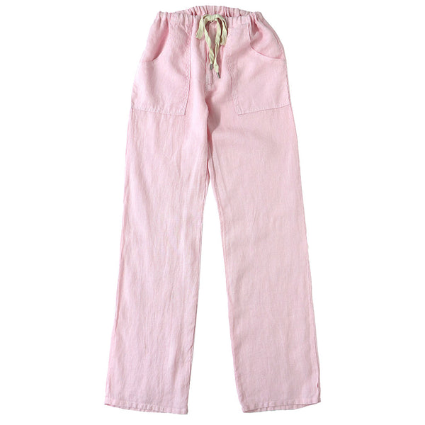Button Drawstring Linen Pants 2 Front Patch Pockets - Pink Clover