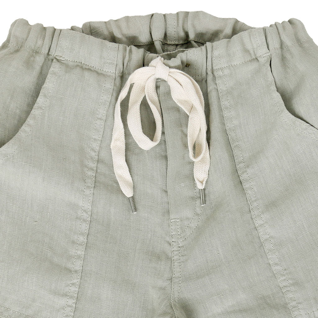 Button Drawstring Linen Pants 2 Front Patch Pockets - Hay