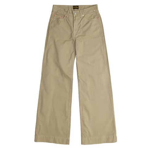 5-Pocket High Rise Wide Twill Pants - FAWN