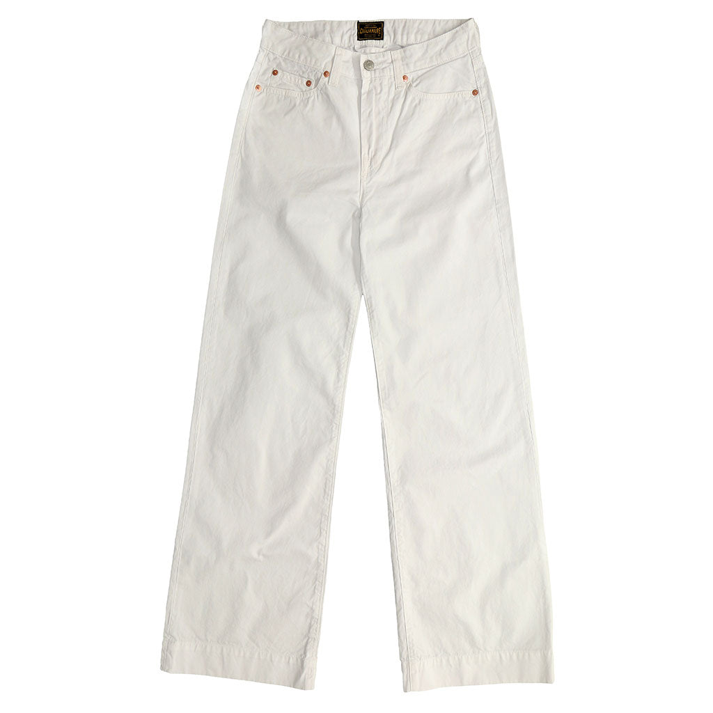 5-Pocket High Rise Wide Twill Pants - White