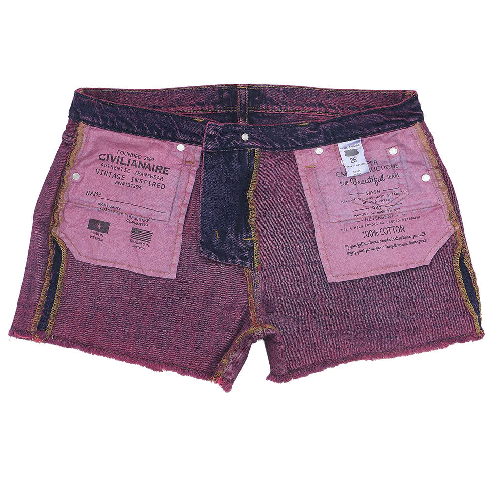 12.4 oz Denim Shorty Shorts - Pink on Denim