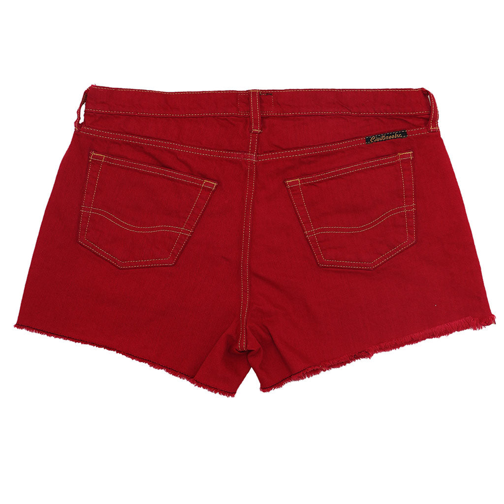 12.4 oz Denim Shorty Shorts - Red on Denim