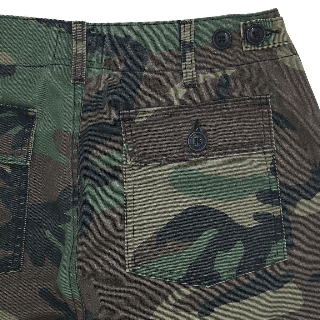Military Camo Crop Pant - Light Stone Wash