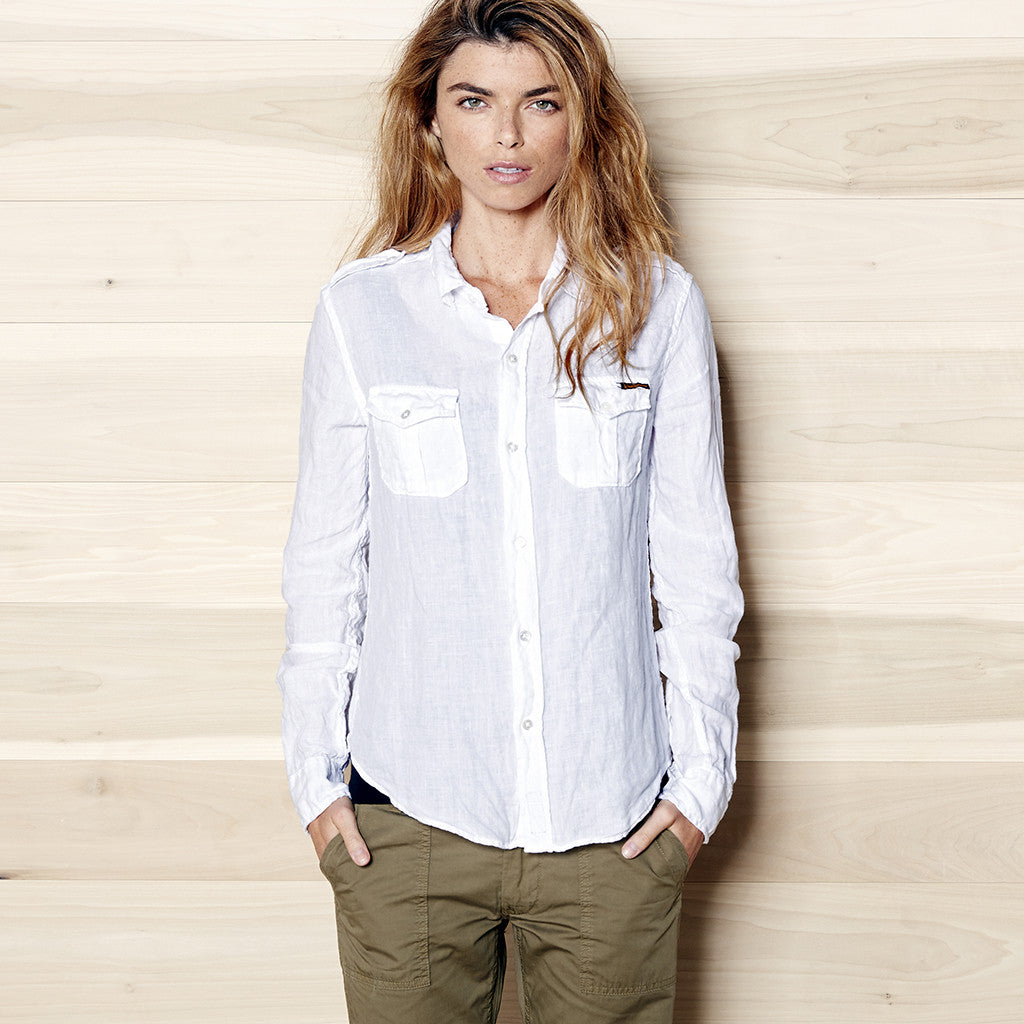 Women's Long Sleeve Officer Linen Shirt - White