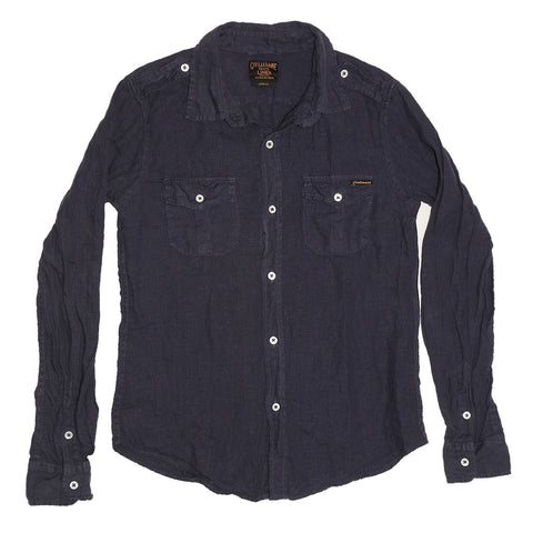 Women's Long Sleeve Officer Linen Shirt - Dark Slate Blue
