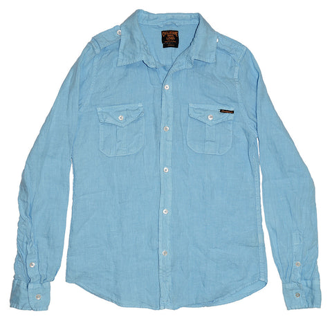 Women's Long Sleeve Officer Linen Shirt - Lt. Baby Blue