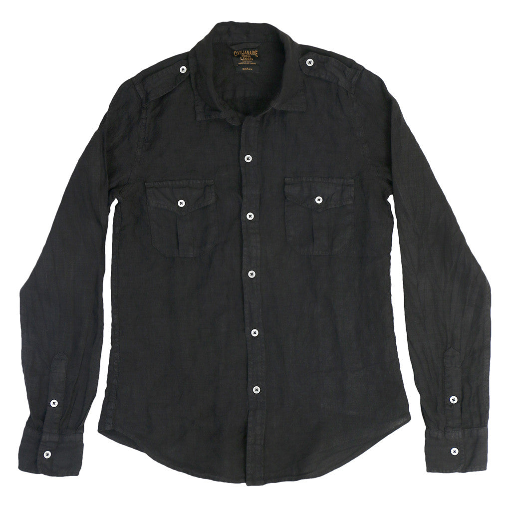 Long Sleeve Officer Linen Shirt - Sharp