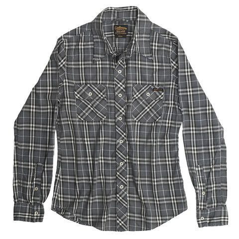 Women's Long Sleeve 2 Pocket Fayette Flannel Plaid Shirt - Grey