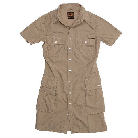 Women's Short Sleeve Military Poplin Shirt Dress - Soft Khaki