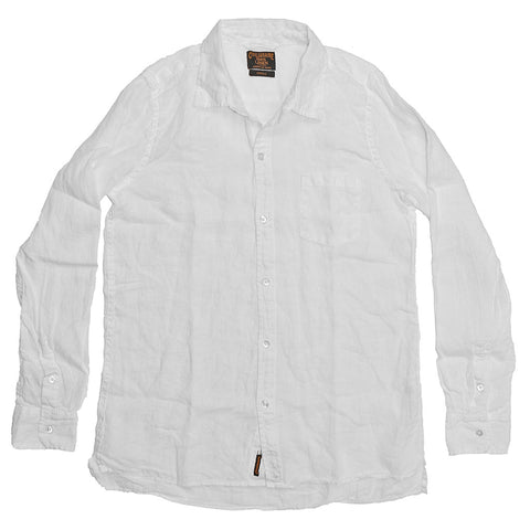 Women's Long Sleeve 1 Pocket Hi-Lo Hem Linen Shirt - White