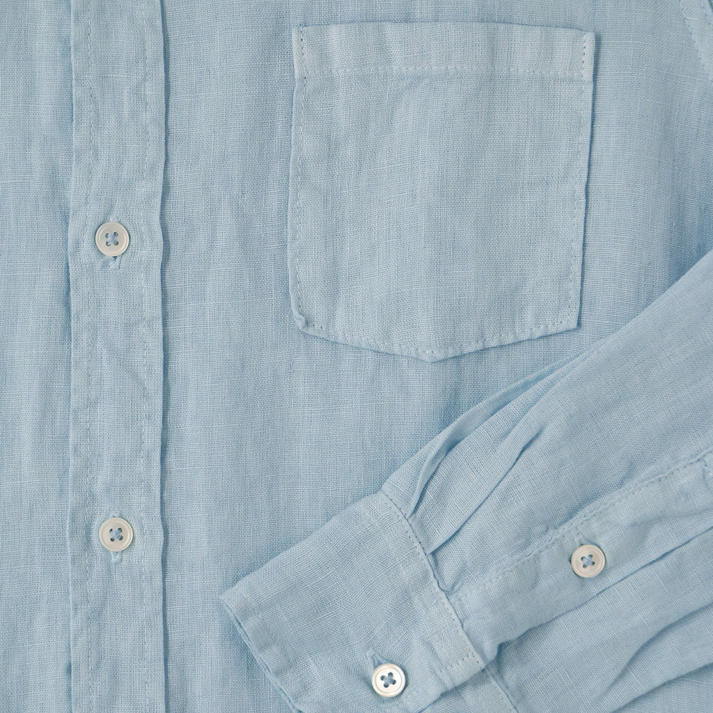Long Sleeve 1 Pocket Hi-Lo Hem Linen Shirt - Skyra Blue