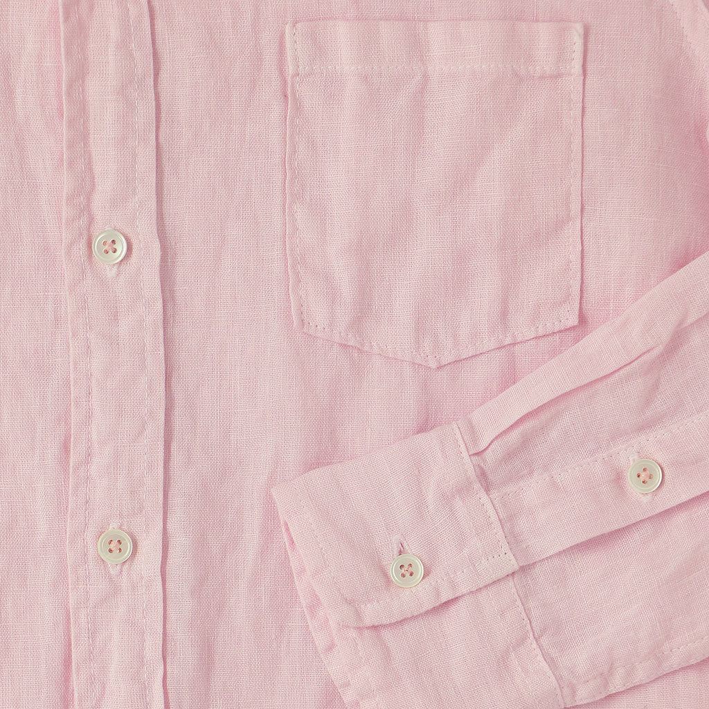 Long Sleeve 1 Pocket Hi-Lo Hem Linen Shirt - Pink Clover