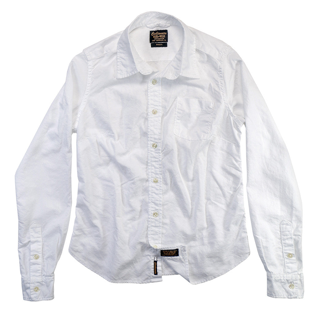 Long Sleeve 1 Pocket Tailored Boyfriend Oxford Cotton Shirt - White