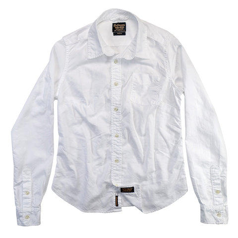 Women's Long Sleeve 1 Pocket Tailored Boyfriend Oxford Cotton Shirt - White