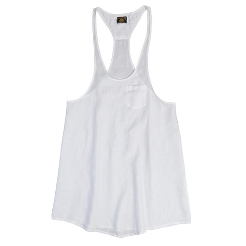 Women's 1 Pocket Racerback Tank Tunic Linen Top - White