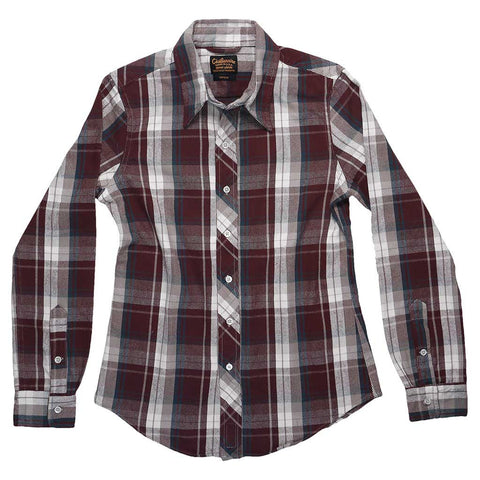 Long Sleeve Shirt Glastonbury Japanese Heavyweight Flannel Plaid - Burgundy