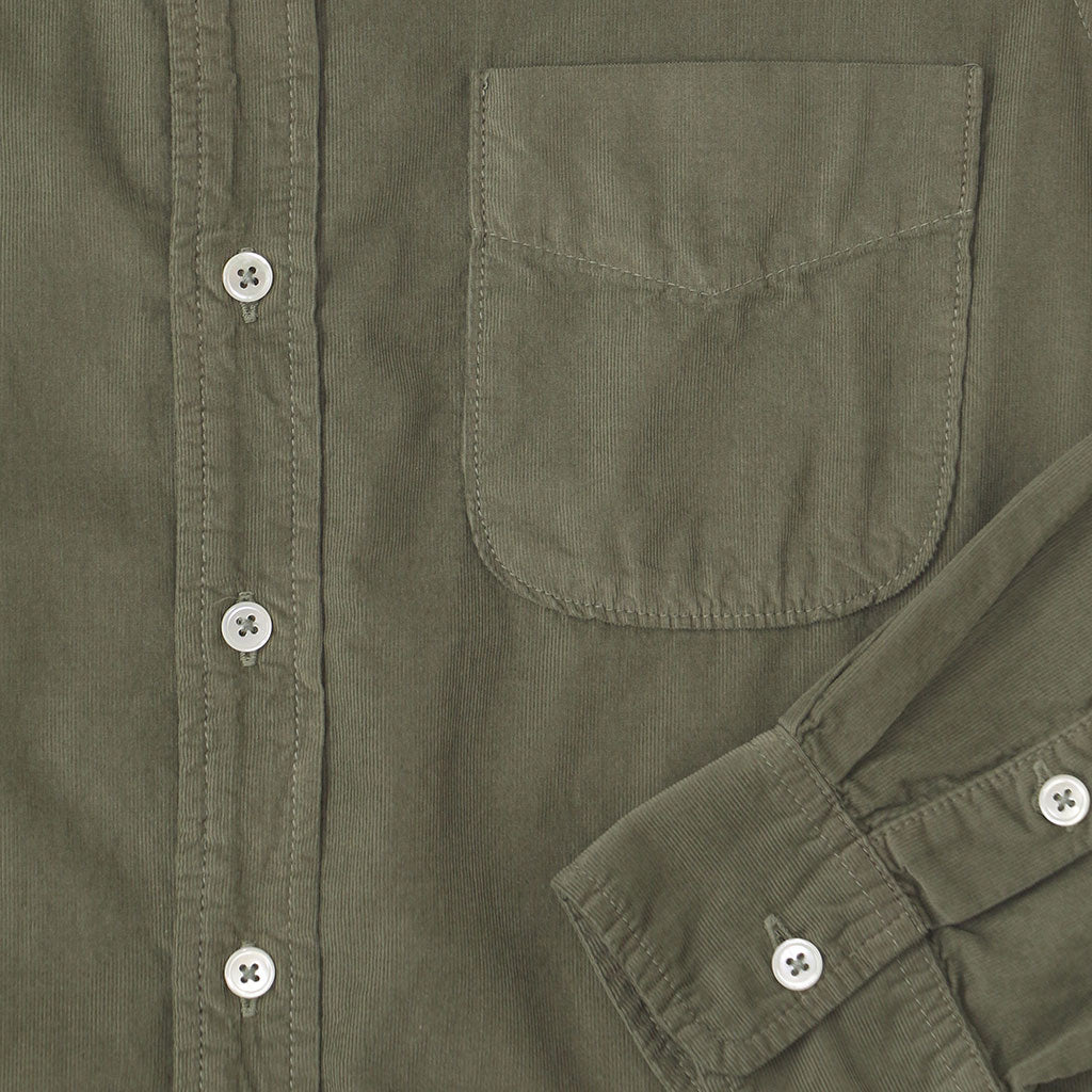 Long Sleeve Light Weight Corduroy Women's Single Pocket Shirt - Soft Olive #3132