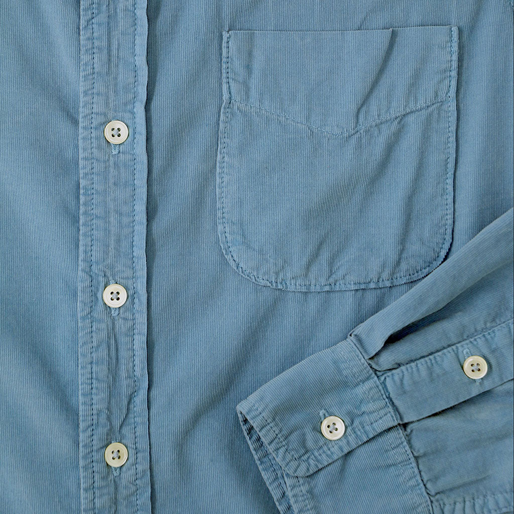 Long Sleeve Light Weight Corduroy Women's Single Pocket Shirt - Simple Blue #4314