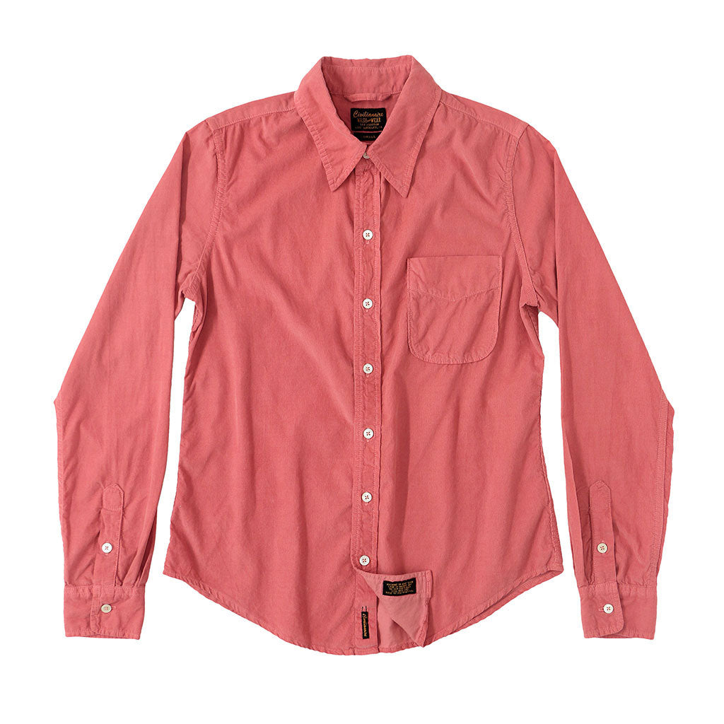 Long Sleeve Light Weight Corduroy Women's Single Pocket Shirt - Flamingo #6168