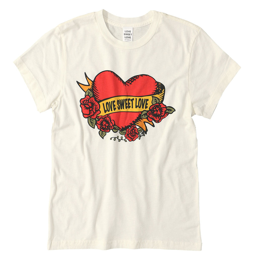 "LOVE SWEET LOVE ""SWEET LOVE TATTOO"" SHORT SLEEVE CREW NECK - #1052 WHITE NATURAL"