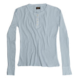 Women's Long Sleeve Thermal Cotton Banded Henley - Skyra Blue