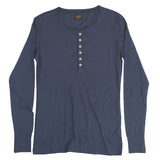 Women's Long Sleeve Ringspun Cotton Banded Henley - Dark Slate Blue