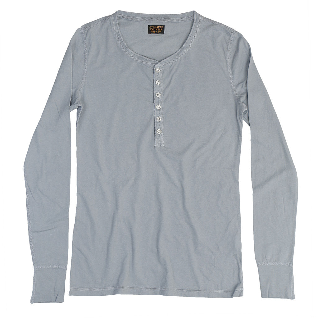 Long Sleeve Ringspun Cotton Banded Henley - Cool Grey
