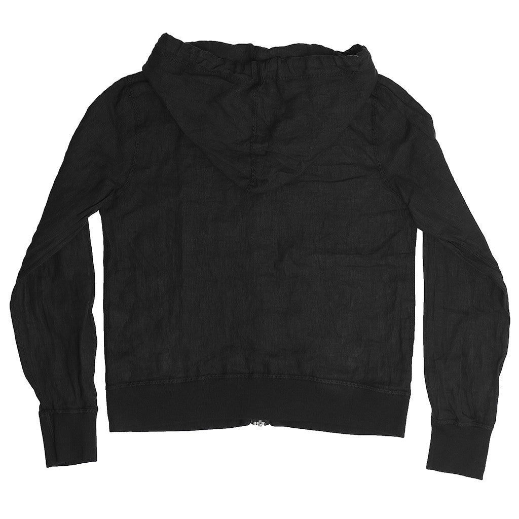 Women's Zip Front Hooded Linen Sweatshirt - Jet Black