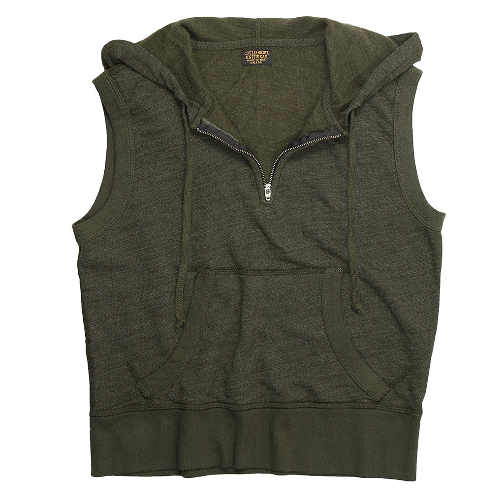 Women's Sleeveless Half-Zip Tri-Blend Hooded Sweatshirt - Deep Green