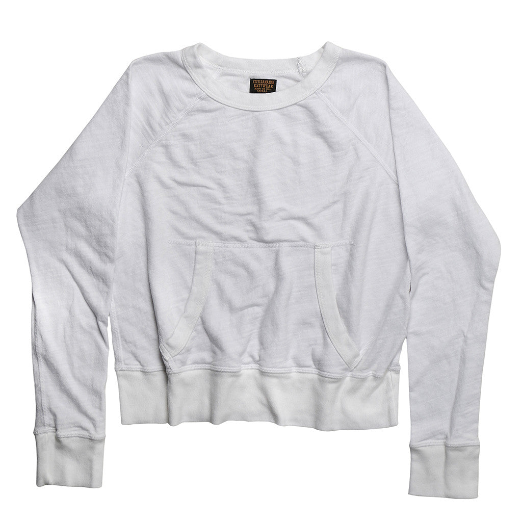 Women's Kangaroo Pockets Tri-Blend Fleece Sweatshirt - White