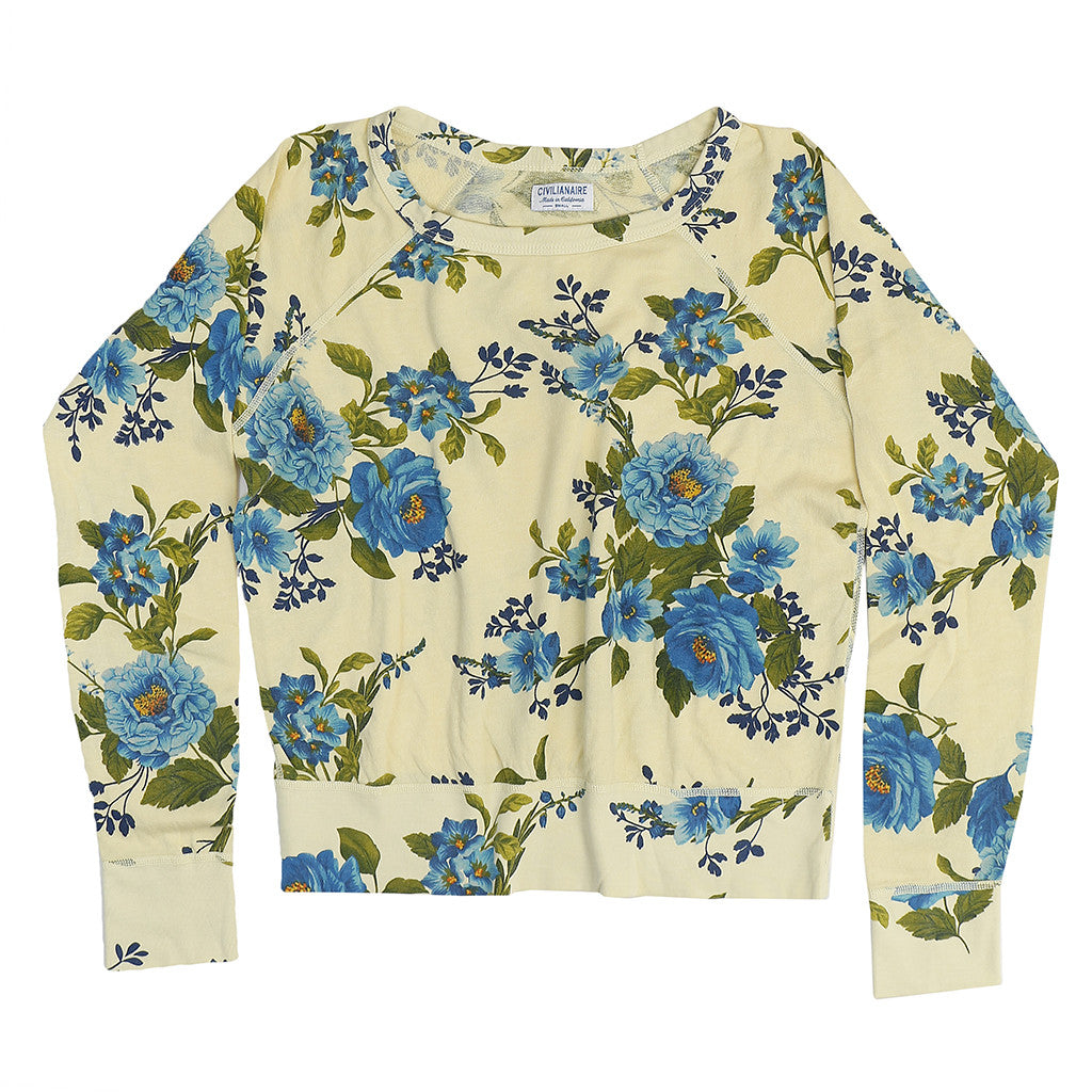Women's Long Sleeve Raglan Crew Neck Supima Cotton Fleece Sweatshirt - Blue Rose Lemon Yellow