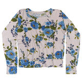 Women's Long Sleeve Raglan Crew Neck Supima Cotton Fleece Sweatshirt - Blue Rose Polar Pink