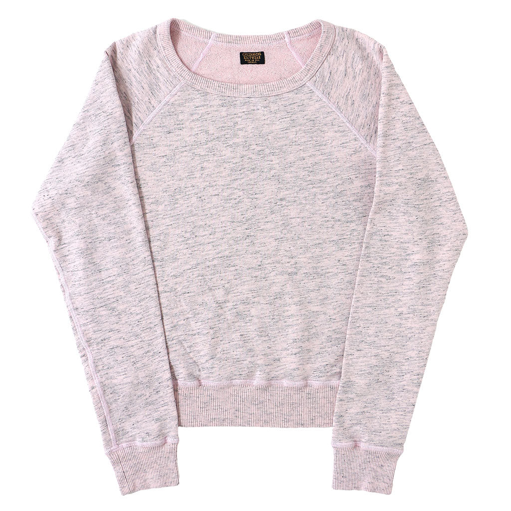 Long Sleeve Streaky French Terry Crew Neck Raglan Sweatshirt - Pink Clover