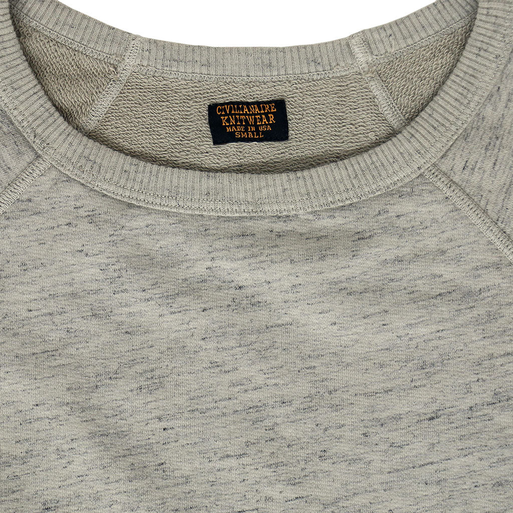 Long Sleeve Streaky French Terry Crew Neck Raglan Sweatshirt - Hay