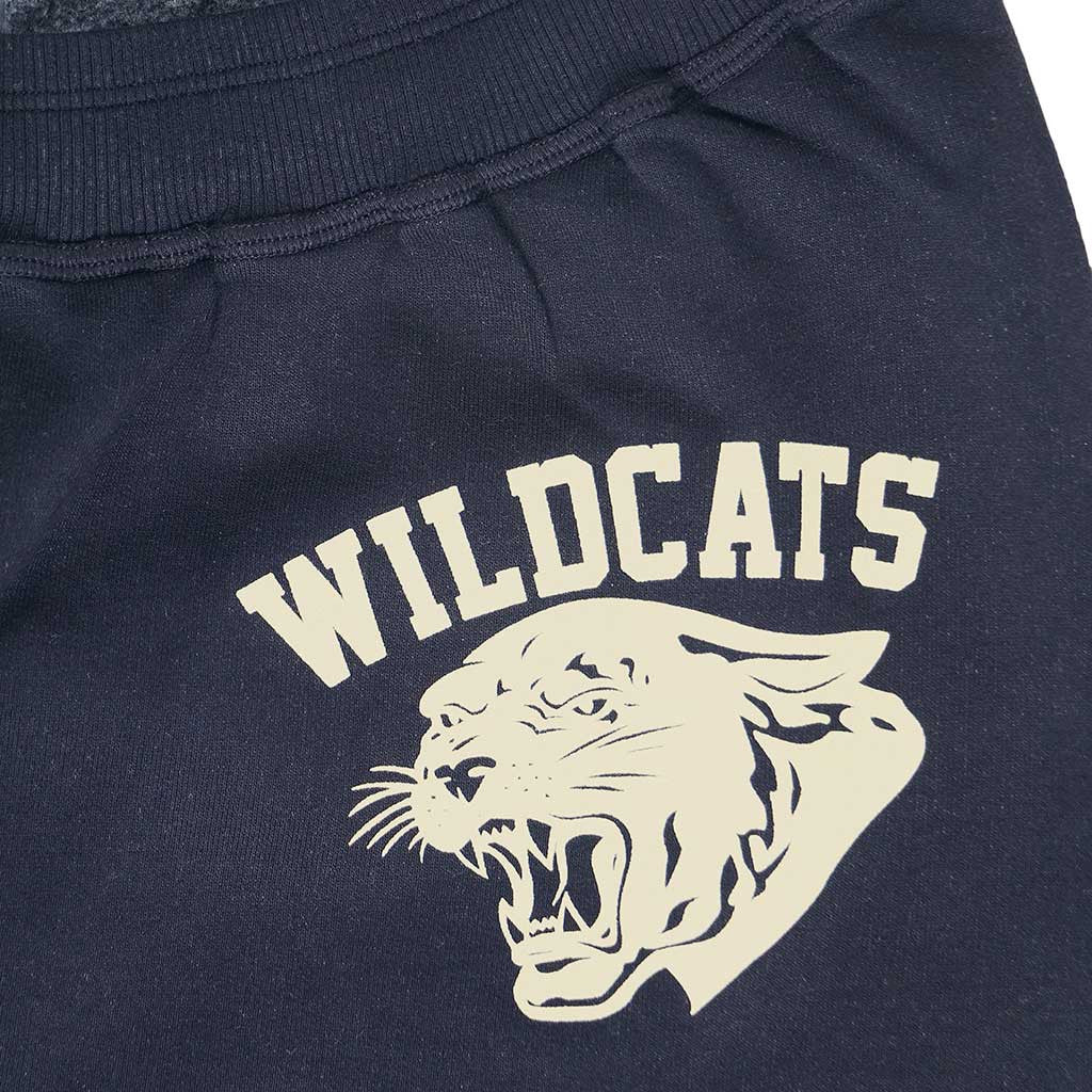 """Wild Cats"" Drawstring Elastic Waist Fleece Sweatpants - Dark Slate Blue"