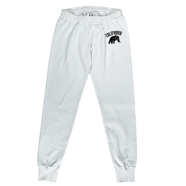 """California Bear"" Drawstring Elastic Waist Fleece Sweatpants - Ash"