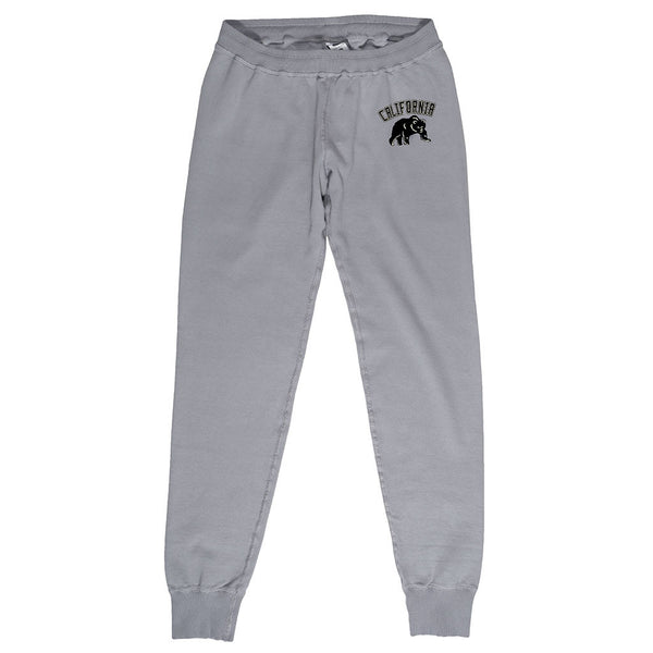 """California Bear"" Drawstring Elastic Waist Fleece Sweatpants - Iron"