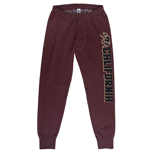 """Cal Bear Vertical"" Drawstring Elastic Waist Fleece Sweatpants - Red Autumn Leaf"