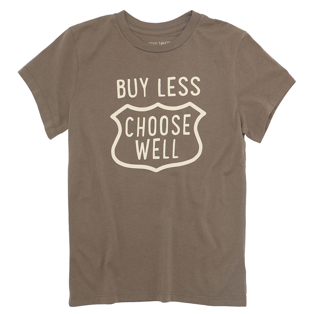 """BUY LESS  CHOOSE WELL"" Women's Crew Neck Short Sleeve Tee - Grain"