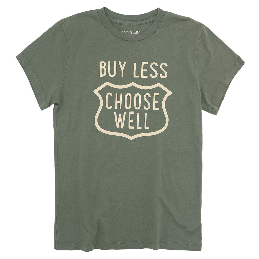 """BUY LESS CHOOSE WELL"" Women's Crew Neck Short Sleeve Tee - Soft Olive"