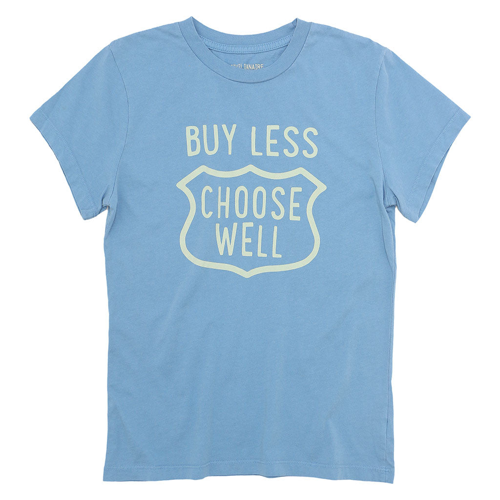 """BUY LESS CHOOSE WELL"" Women's Crew Neck Short Sleeve Tee - Simple Blue"