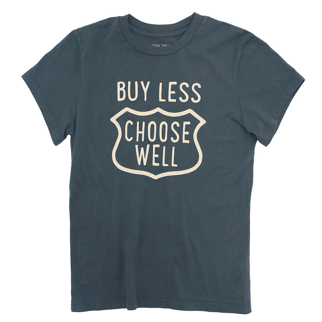 """BUY LESS CHOOSE WELL"" Women's Crew Neck Short Sleeve Tee - Moon"