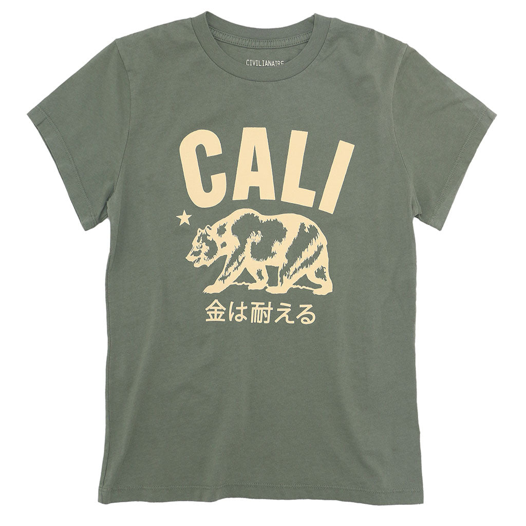 Don't Mess With Cali  Women's Crew Neck Short Sleeve Tee - Soft Olive