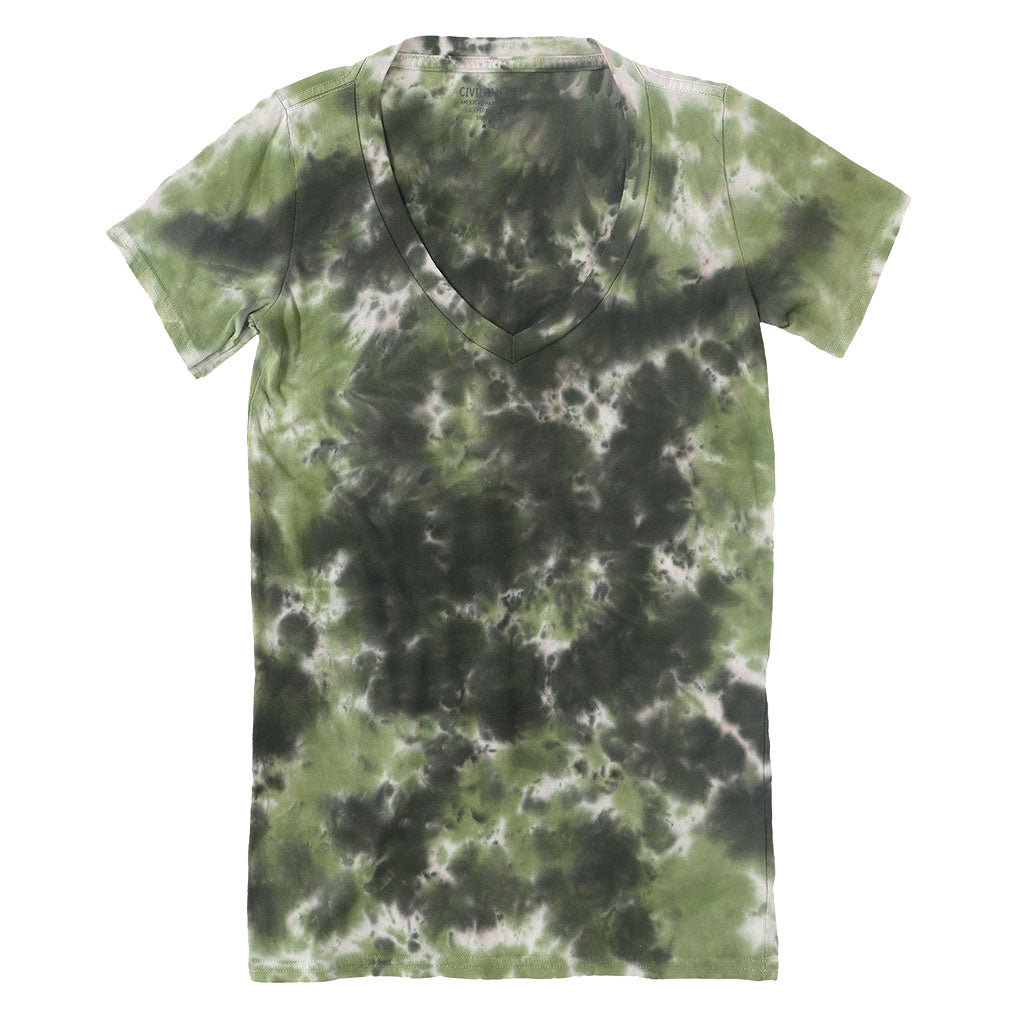 Short Sleeve Crew Neck Tee - Tie Dye GREEN-BLACK