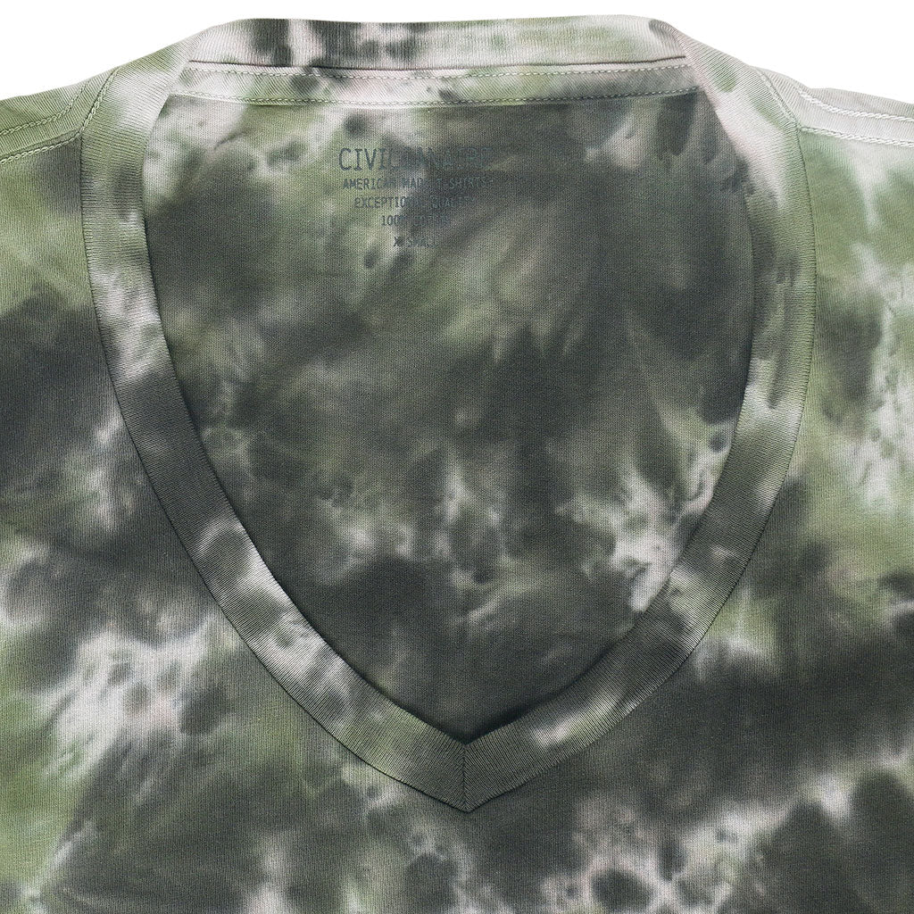 Short Sleeve V-Neck Tee - Tie Dye GREEN-BLACK
